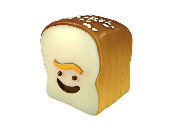 the logo for Loaf which is actually a loaf of bread with a smiley face on it