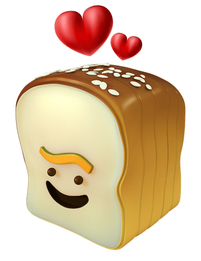an image of the loaf logo with love hearts above it